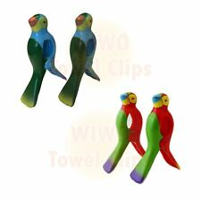WIWO 2 Pairs of Towel Clips - BLUE Parrot & RED Parrot