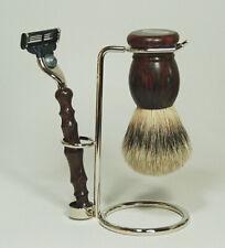 Hans Baier Germany - Shaving Set Rosewood - Brush Badger Hair Silvertip Shaver
