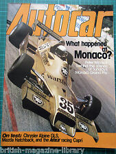Autocar 13 May 1978 Monaco GP Alpine GLS racing Capri 3000 BMW 633CSi Coupe