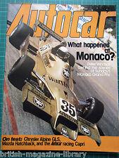 Autocar 13 May 1978 Monaco GP Alpine GLS racing Capri 3000 BMW 633CSi Coupe