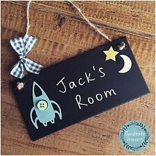 Personalised Name Plaque Door Nursery Bedroom Sign Gift Baby Boys Rocket Room