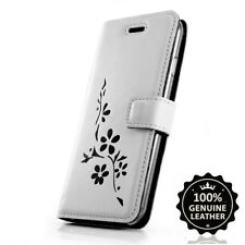 SURAZO® Echtes Ledertasche Hülle Flip Handy Case- Farbe GRAU mit schwarze Blumen