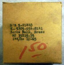 VTG NOS (144) Brass Machine Screws Black MS 35215-34 Round Head 1965 Military