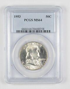 1953 MS64 Franklin Half Dollar - 90% SILVER - PCGS Graded *893