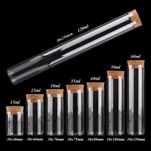 Diameter 30mm 15ml-120ml Glass Test Tube with Cork Stopper 8 sizes U-pick