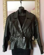 Leather Biker Jacket ☆genuine☆generous S fit  UK12☆Soft&Supple ☆ ACTUAL LONDON♡