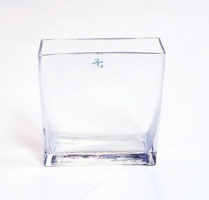 "Hosley Large Rectangular Heavy Clear Glass Decorative Vase 7"" x 8"" x 2.25"""