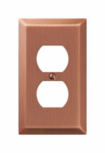 Amerelle Century Antique Copper 1 gang Stamped Steel Duplex Outlet Wall Plate