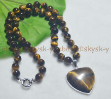 "8MM GENUINE TIGER'S EYE GEMS STONE ROUND BEADS NECKLACE HEART PENDANT 18"" AA"