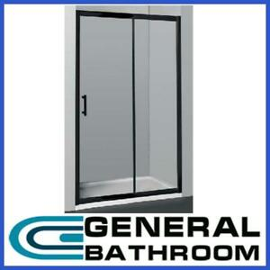 Black Wall to Wall Sliding Door Shower Screen Adjustable 1100-1200mm