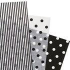 Assorted Black White Polka Dot Stripe Tissue Paper Gift Wrapping 20