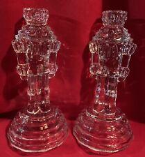 Nutcracker,Candle Stick Holders,Nutcracker Guard,Solders,Set of 2,Vintage,Glass