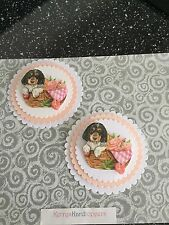 2 x Decoupage Pictures of Dog In A BasketTheme Toppers