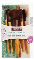 ECOTOOLS Makeup SIX PIECE STARTER SET Face+Eye Shadow+Liner BRUSHES+BAG #1206