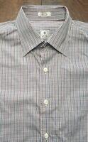 Peter Millar Mens Dress Button Shirt Red Green Blue Shepherds Check Medium M
