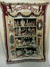 """Christmas Theme Large Tapestry Style Throw Blanket Afghan Antique Toys 64"""" X 44"""""""