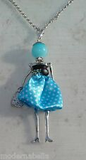 Bambola Collana vestito a pois,perle,da Donna,bambolina,necklace doll,celeste