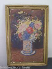Ancienne peinture pot de fleur signée