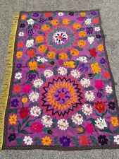 Silk Purple Hand Embroidery Vintage Uzbek Antique Wall Hanging Tablecloth Suzani