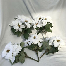 JOB LOT CLEARANCE 6 x White Poinsettia Flower Bunch Christmas Rose Decorations