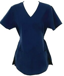 SB Scrubs Scrub Top Women's Size XS Navy Blue V-Neck Mock Wrap Cinch Waist