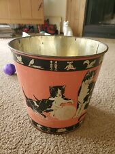 New listing Adorable Vintage Kids Animals Kitty Cats Metal Waste Trash Can