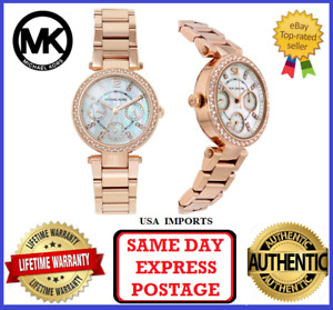 Michael Kors MK5616 Mini Parker Rose Gold and Crystal Chronograph Womens Watch