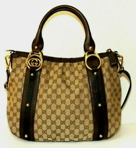 Gucci Beige Brown Signature GG Fabric Leather Shoulder Tote Bag