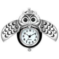 Silver Tone Night Owl Quartz Pocket Watch Necklace Pendant Cute Sweater Chain