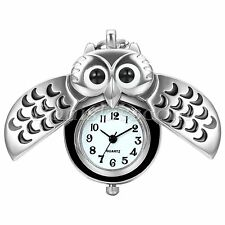 Silver Tone Night Owl Quartz Pocket Watch Necklace Pendant Cute Sweater Chain