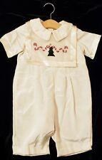 ☀�Strasburg Boys Vintage 18 mo Holiday Christmas Easter Ivory Embroidered 2 pc