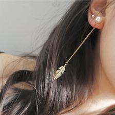 Women 1 pair Long Drop Pearl Leaf feather Tassel Dangle Earrings