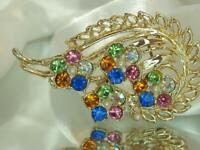 Stunning X Sparkling Colorful Pastel Rhinestone Vintage 80's Flower Brooch 607A0