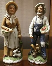 Vintage Homco 1409 Farmer and Wife Figurines Apple Picking