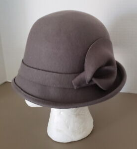 Women's 100% Wool Felt Gray Flapper Hat 1920s Fashion Adjustable String, NWT