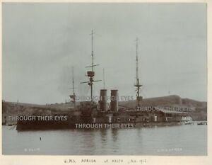 Large original photo on album page Royal Navy Battleship HMS Africa Malta 1912