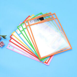 10pcs Dry Erase Pocket Sleeves Resuable Write and Wipe Pockets for Kids