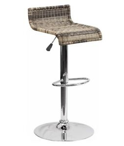 Set(2)Contemporary Wicker Adjustable Height Barstool with Chrome Base  DS-712-GG