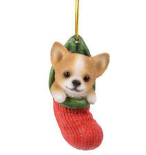 New STOCKING PUPS Ornament CHIHUAHUA PUPPY Christmas Hanging Decor Figure Statue