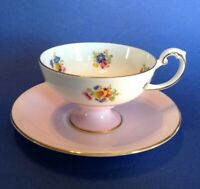 Harleigh Pedestal Tea Cup And Saucer - Pink - Chintz Flower Bouquets - England