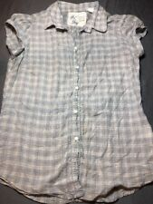 Girl Krazy Button Up Blouse Shirt Top Small Sm S Plaid Euc Cute Summer