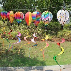 Yard Decor Hot Air Balloon Wind Spinner Rainbow Sequins Windsock Striped Outdoor