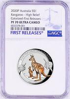 2020 Australia FIRST Colored HIGH RELIEF 1oz Silver Kangaroo $1 Coin NGC PF70