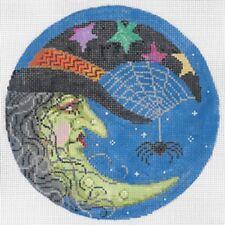 "Needlepoint Handpainted Sandra Gilmore Halloween WITCH Madame W 6"""