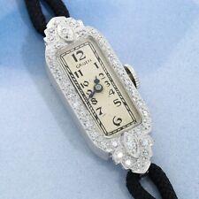 Gruen Watch Precision Platinum Diamond Cocktail Ladies Serviced Warranty