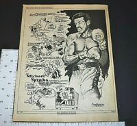1983 Vintage Print Art The Ring Boxing Cartoon Michael Spinks Charlie McGill