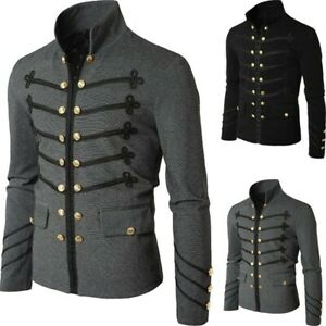 Mens Steampunk Jacket Rock Victorian Gothic Single Breasted Frock Coat Uniform