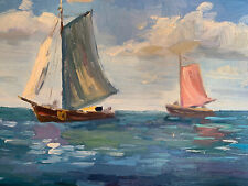"""Sail Boat Seascape Hand Painted 8""""x10"""" Oil Painting Unstretched Canvas Art"""