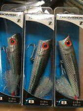"3 Discontinued Bomber Saltwater Grade Pop'n Minnow Blue Stripe Mullet 3-1/8"" PM3"