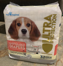 Paw Inspired Disposable Dog Diapers Female Dog Ultra Protection Medium 32 Count